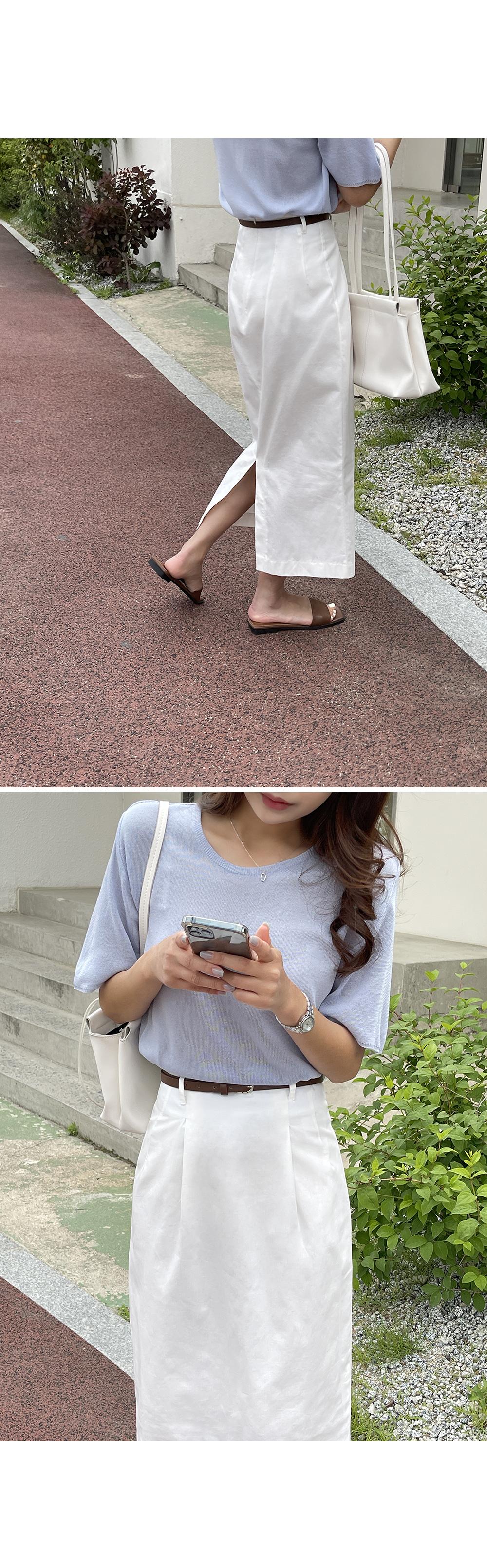 Solid Belted Linen Skirt-Holiholic