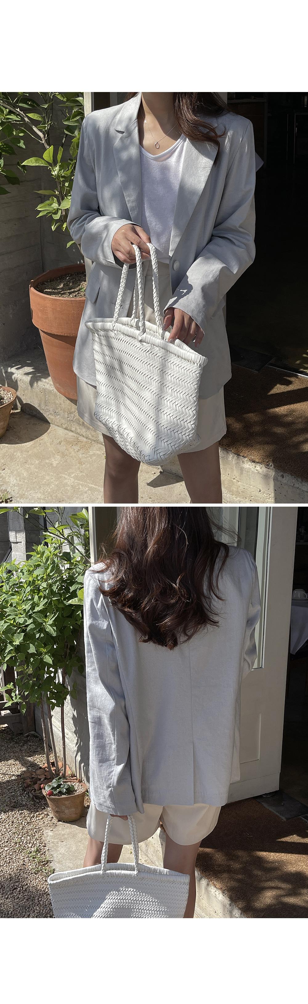 Grey Summer Linen Single Jacket  -Holiholic