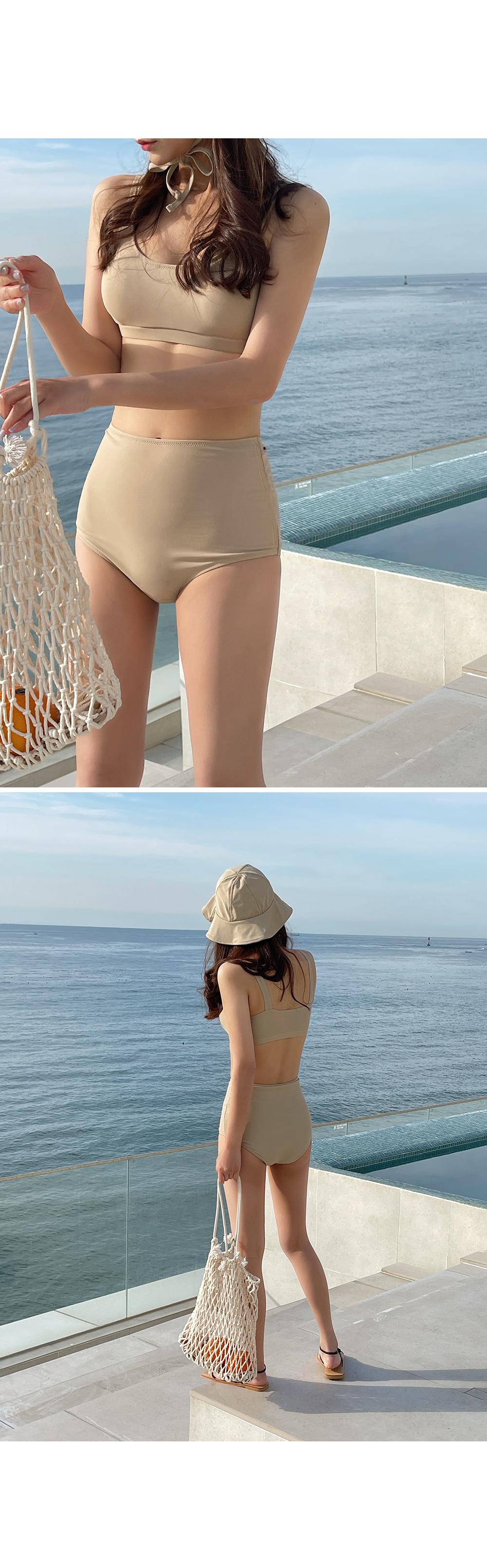 Solid Bikini with Bucket Hat-Holiholic