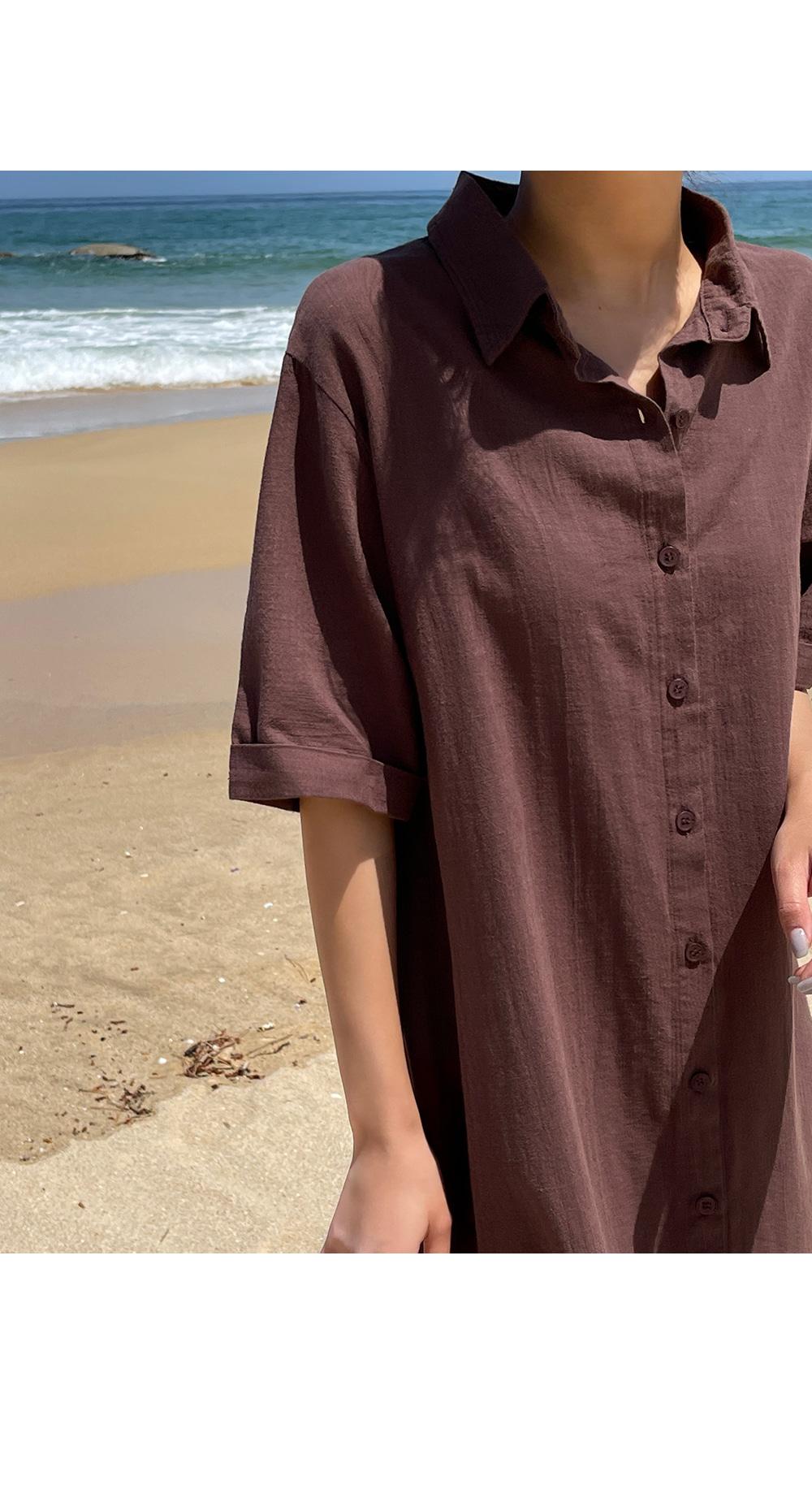 Rosa Linen Strap Shirt Dress- Holiholic