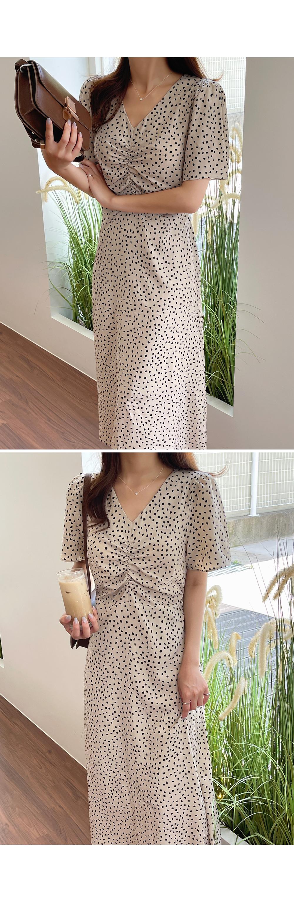 Polka Dot Front Shirring Midi Dress-Holiholic