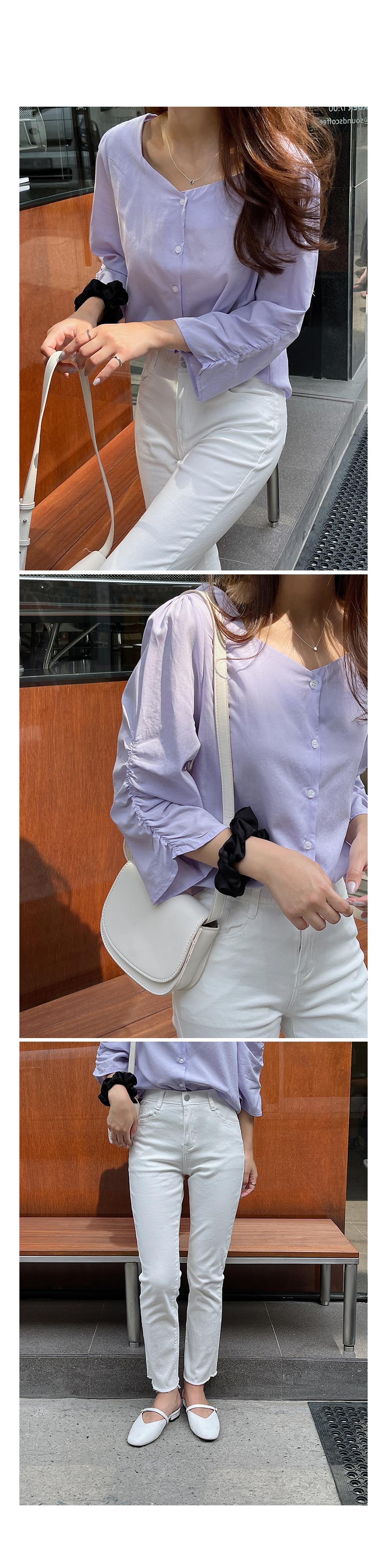 Shirring Sleeve Linen Blouse-Holiholic