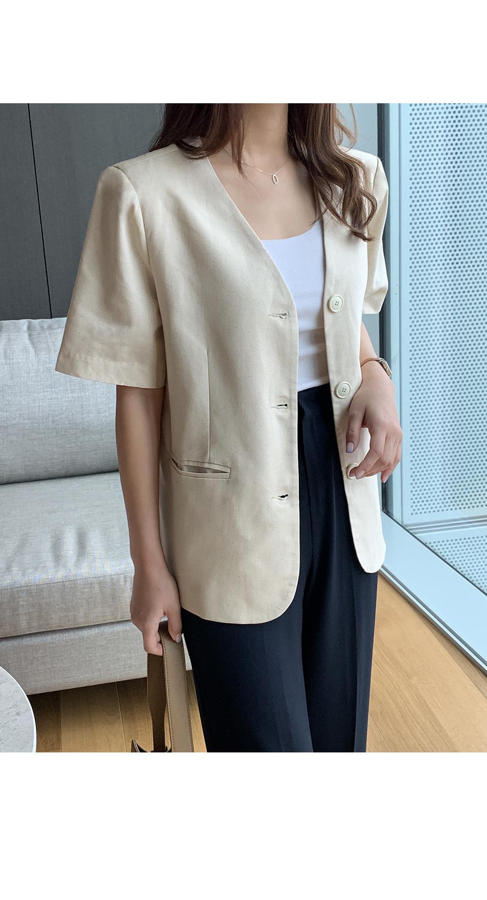 Collarless V Neck Linen Jacket-Holiholic