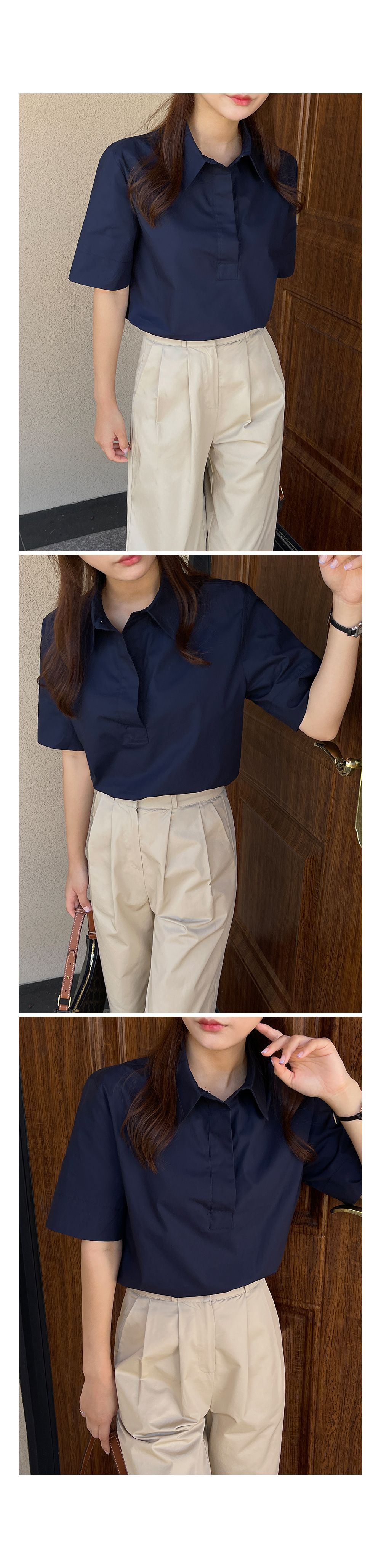 Semi Button Short Sleeve Shirt-Holiholic