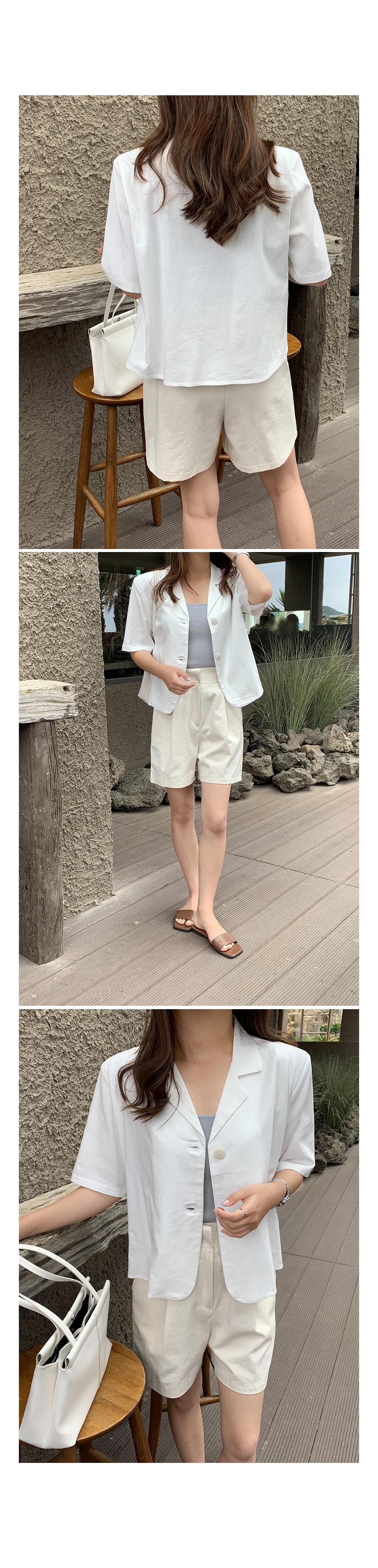 Minimal Linen Single Jacket-Holiholic