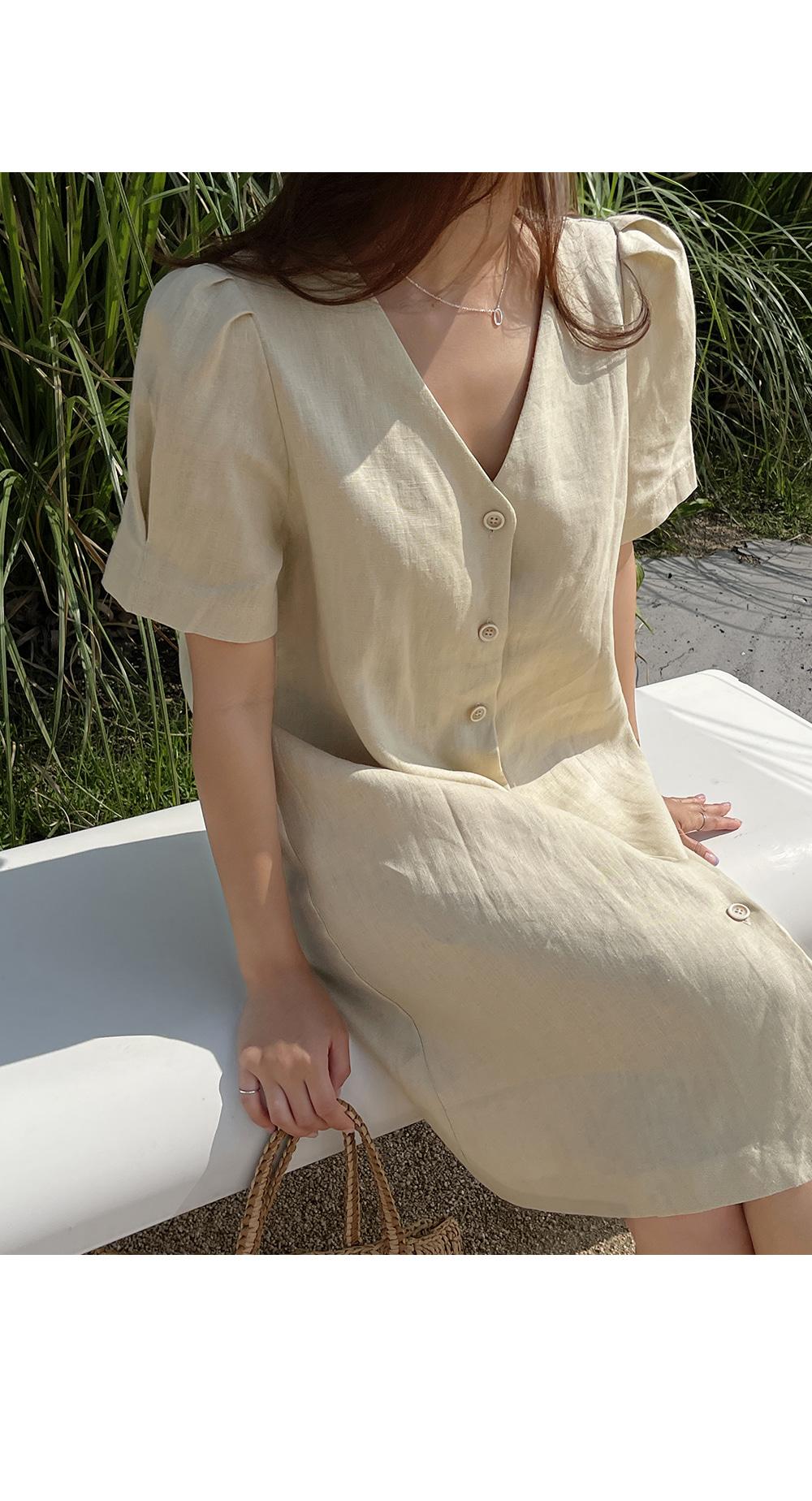Puff Sleeve Button Down Dress-Holiholic