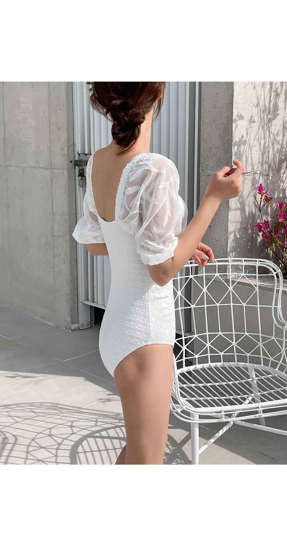 Trisha Lace Short Sleeve Swimsuit  -Holiholic