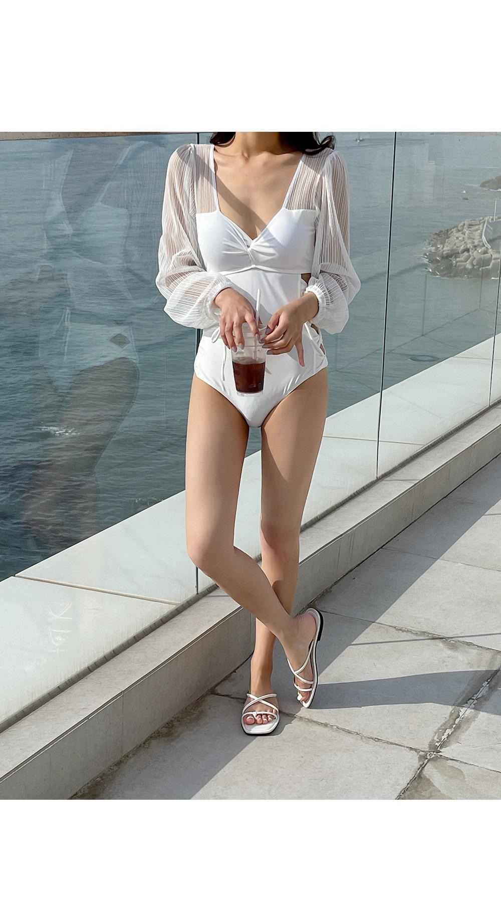 White Lace Sleeve Swimsuit-Holiholic