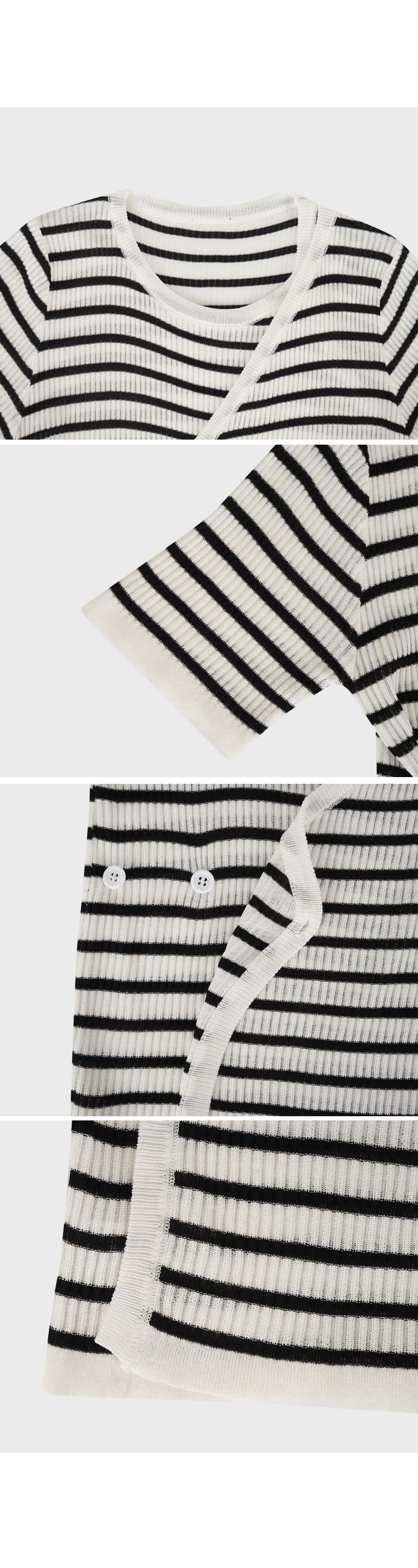 Wrap Style Stripe Knit Top-Holiholic