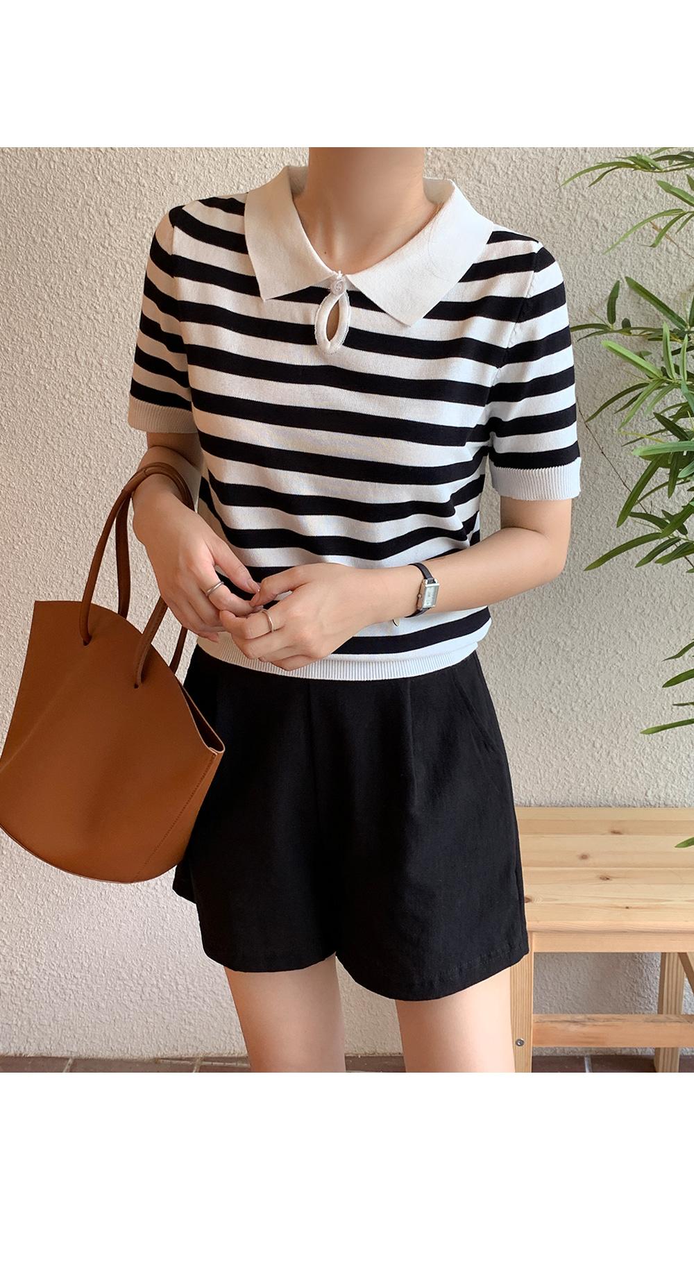 Black & White Stripe Knit Top-Holiholic