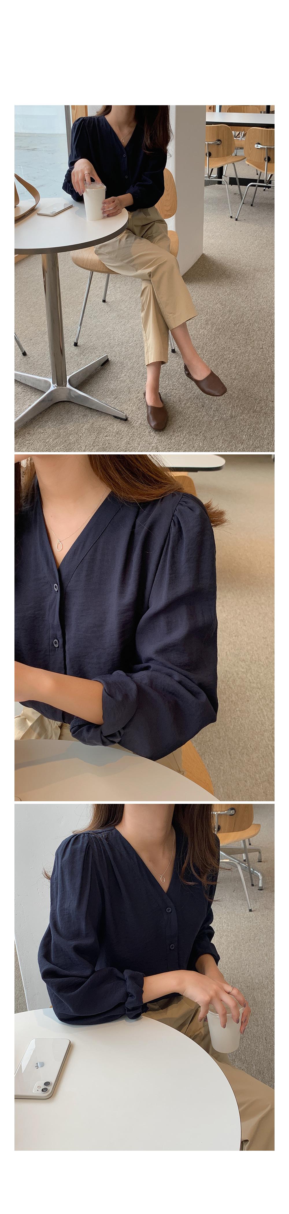 Shirred Shoulder V Neck Blouse-Holiholic