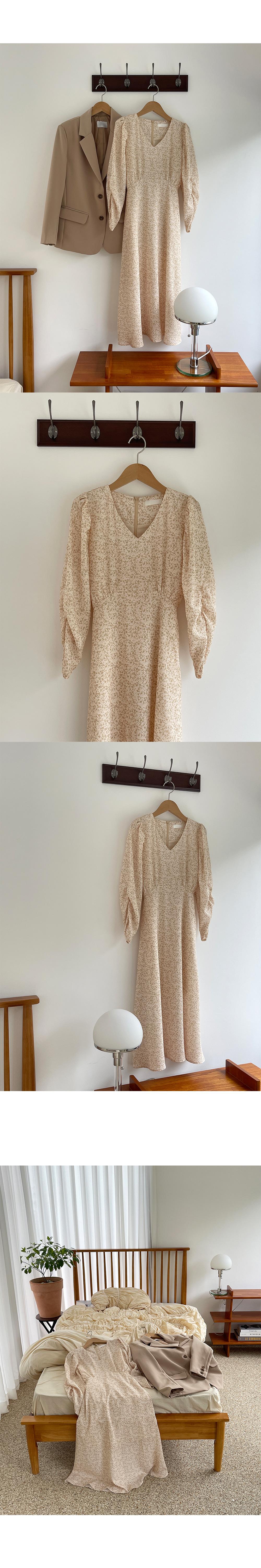 Shirring Sleeve Point Flower Dress-Holiholic