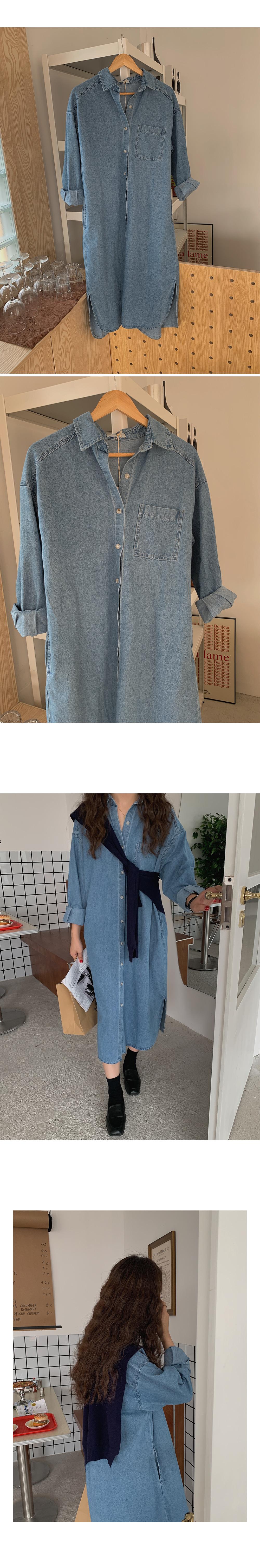 Casual Denim Shirt Dress-Holiholic