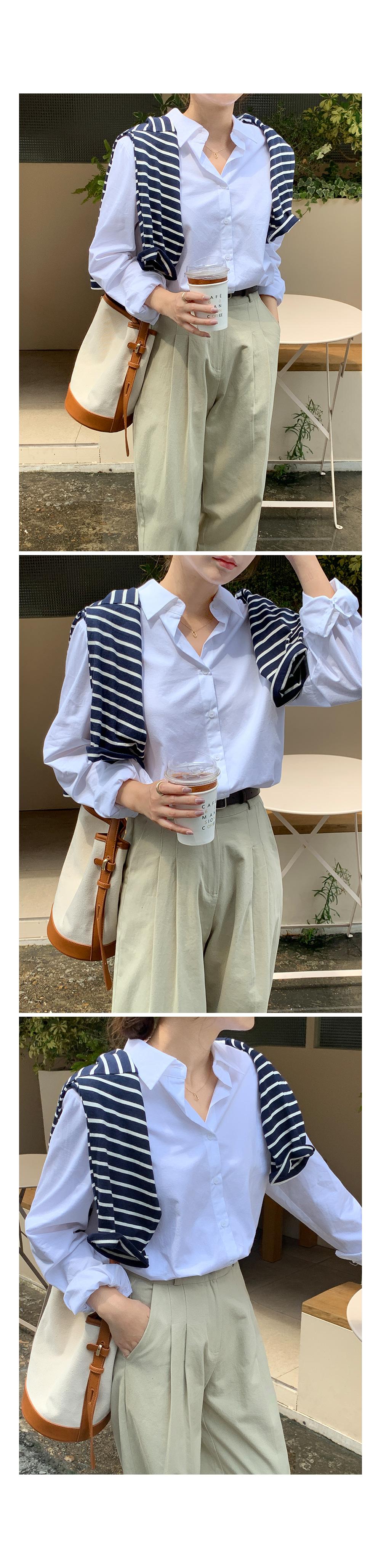 Basic Button-Down Cotton Shirt-Holiholic