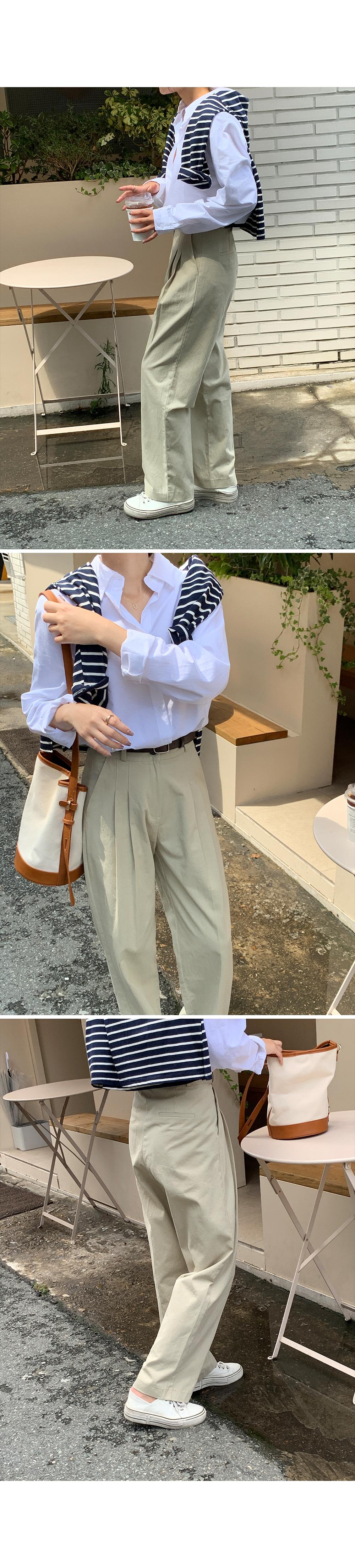 Double Pintuck Cotton Pants-Holiholic