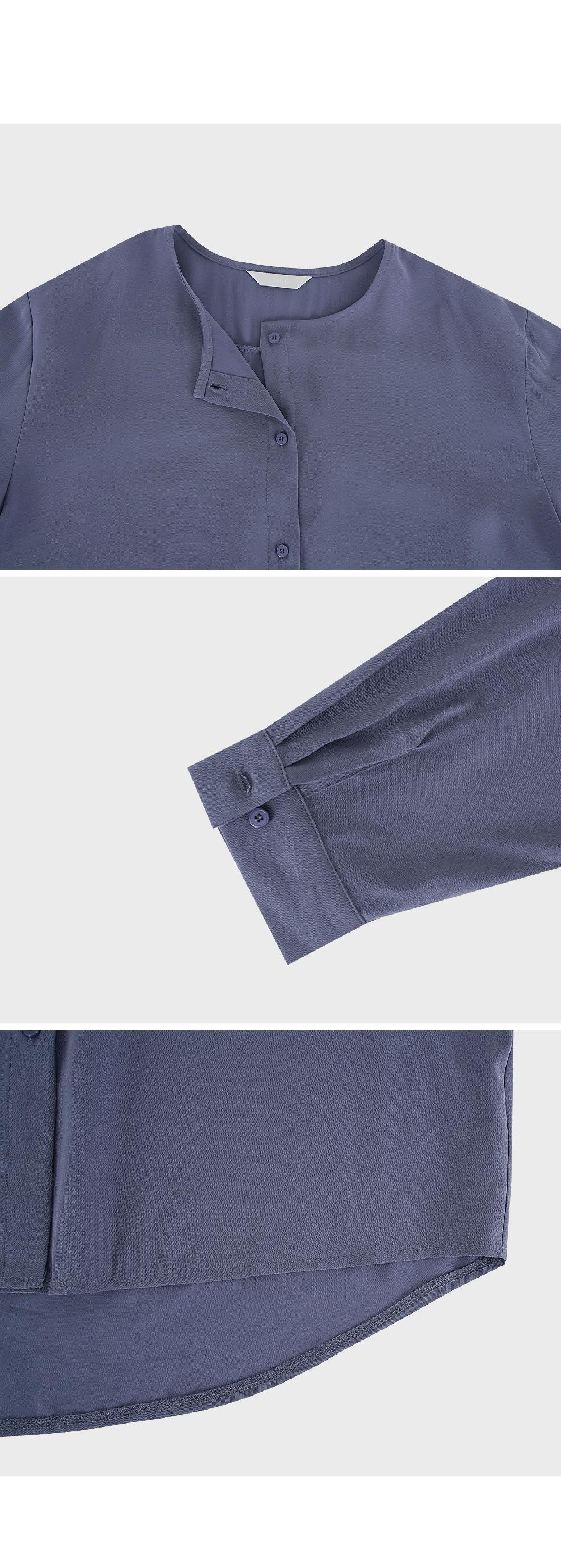 Round Neck Button Up Blouse-Holiholic