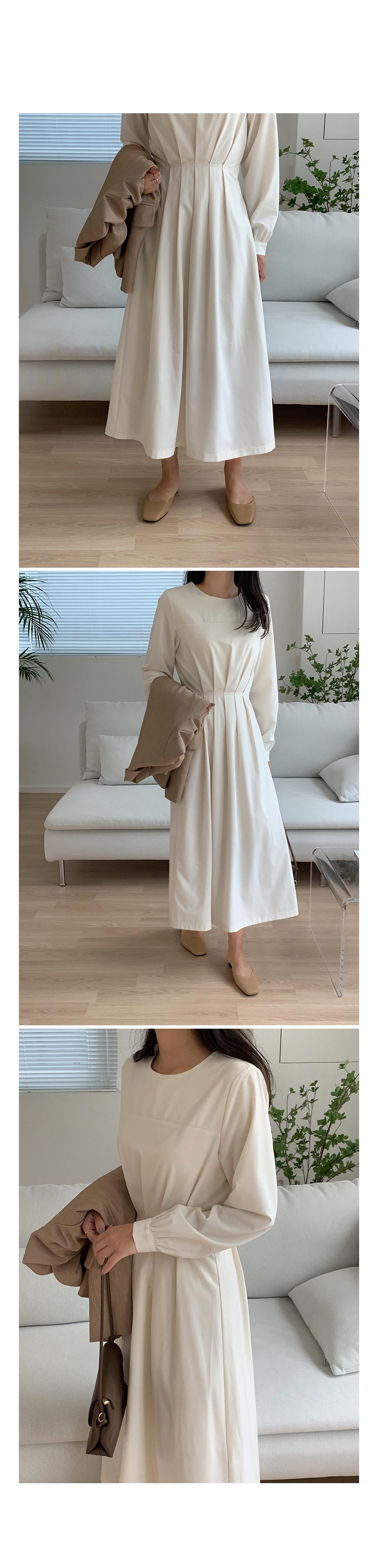 Solid Front Pintuck Midi Dress-Holiholic