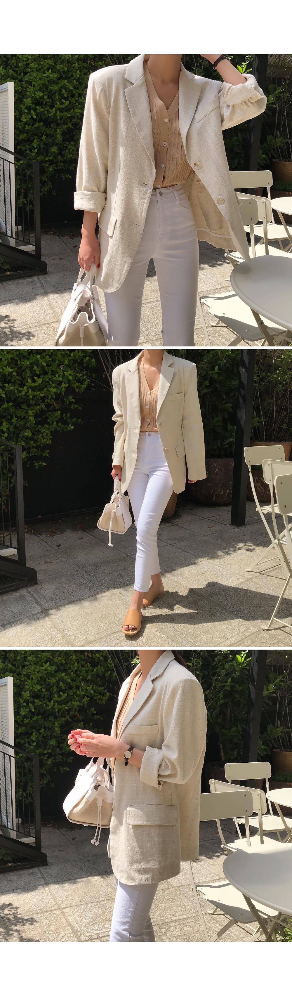 Summer Herringbone Linen Jacket-holiholic.com